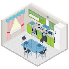 Vector isometric kitchen interior