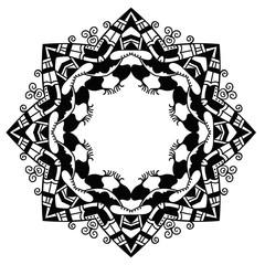 Black and white star. Round ornament. Vector art