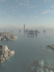 Drowned City Ruins of Atlantis, Fantasy Illustration