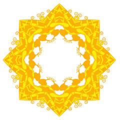Yellow star. Round ornament. Vector art