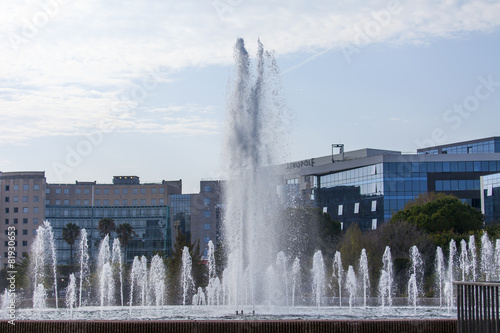Leinwanddruck Bild Nice, France, on March 8, 2015. The fountain in the Phoenix park