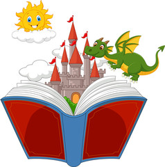 Story book with castle, dragon and sun
