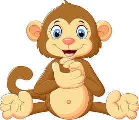 Cartoon cute monkey clapping his hands