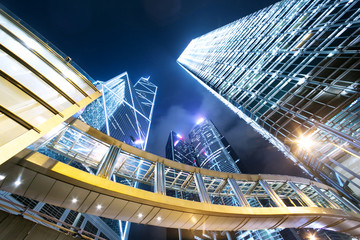 low angle view of illuminated buildings at modern city