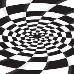 abstract black hole on twirl checkerboard vector background