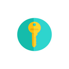 Flat key icon. Isolated from white background