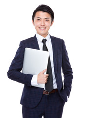 Businessman hold with notebook computer