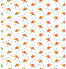 Spring seamless pattern with umbrellas and rain isolated on whit
