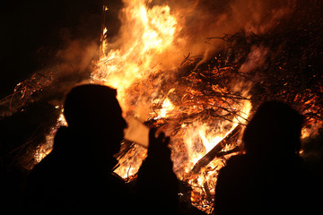 Easter bonfire in Spreewald Region, Lower Lusatia, Germany.