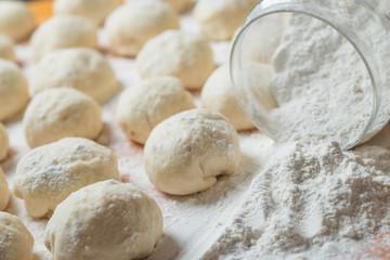 Small balls of fresh homemade dough