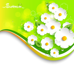 Vector floral,summer  background in 3D