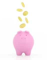 Golden coins falling to pink piggy bank.