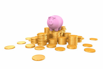 Pink piggy bank standing on golden coins stack.