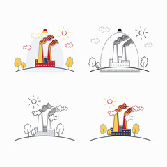Industrial factory buildings icons.