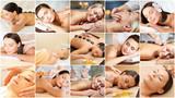 women having facial or body massage in spa salon