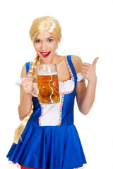Bavarian woman with beer and thumbs up.