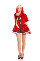 Woman as a Little Red Riding Hood.