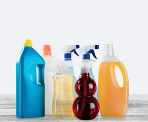 Cleaning. Detergent bottles