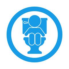 Icono redondo bebe en wc azul