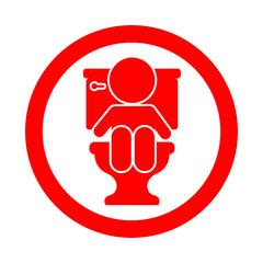 Icono redondo bebe en wc rojo