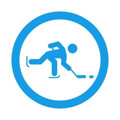 Icono redondo hockey sobre hielo azul