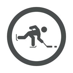 Icono redondo hockey sobre hielo gris