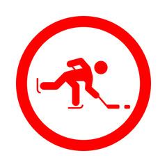 Icono redondo hockey sobre hielo rojo