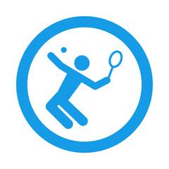 Icono redondo tenista azul
