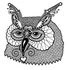 black and white owl head