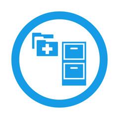 Icono redondo expediente medico azul