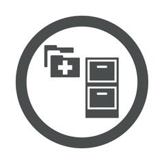 Icono redondo expediente medico gris