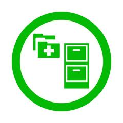 Icono redondo expediente medico verde