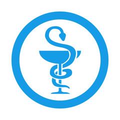 Icono redondo farmacia azul