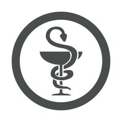 Icono redondo farmacia gris