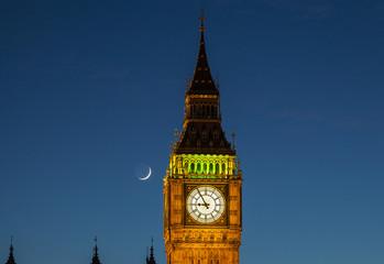 Big Ben and the Moon at Dusk