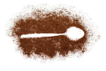 Spoon trace in ground coffee