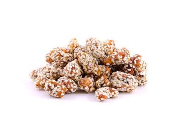 Caramelized cashews isolated