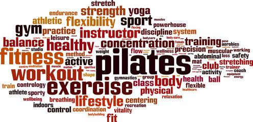 Pilates word cloud concept. Vector illustration