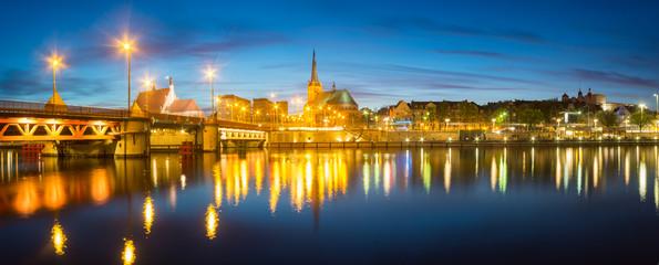 Panorama nocnego miasta,Szczecin