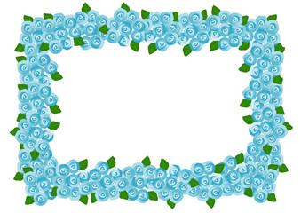 バラ 青色 フレーム イラスト