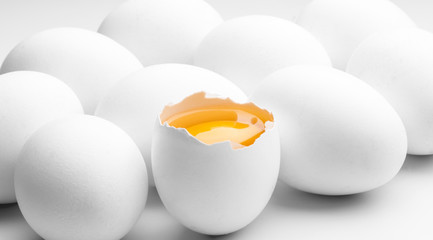 white eggs with red yolk