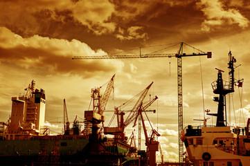Shipyard. Ship under construction, repair. Industrial