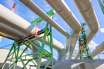 Pipes at thermal electic power station. Industry