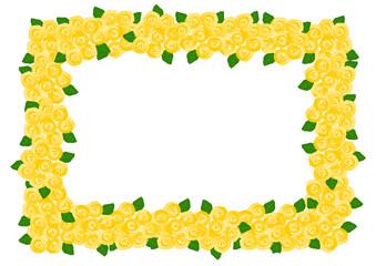 バラ 黄色 フレーム イラスト