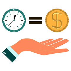 time is money with hand in flat design