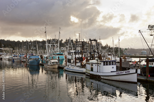 Morning glow over the fishing boats in Newport, Oregon.