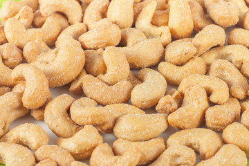 closeup of salted cashews nuts