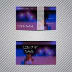 Modern template business cards with blurred abstract background