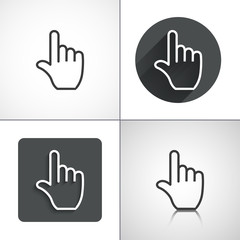 Flat hand touch pointer icons. Set elements for design.