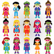 Collection of Diverse Group of Superhero Girls, matching boy sup - 81941244
